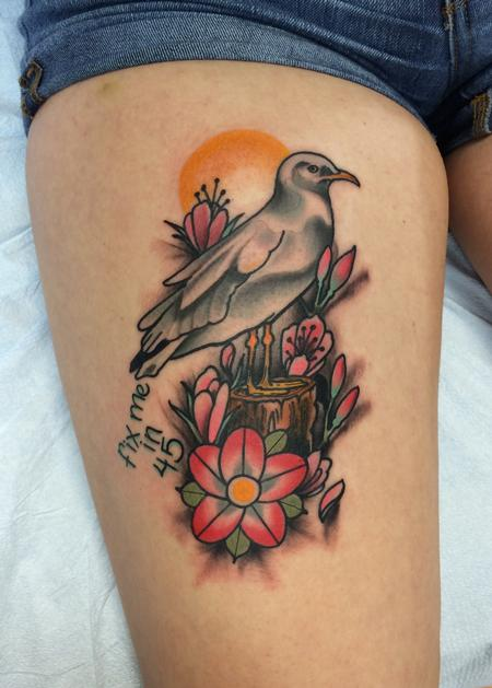 Traditional color seagull with flowers tattoo, Mike Riedl Art Junkies Tattoo Tattoo Design Thumbnail