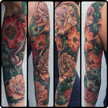 Brent Olson - Realistic color flower sleeve tattoo, Brent Olson Art Junkies Tattoo