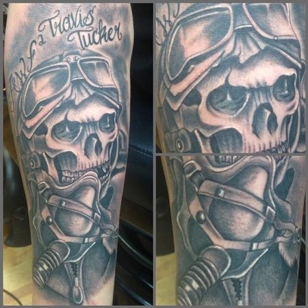 Scott Grosjean - Realistic black and gray pilot skull tattoo. Scott Grosjean Art Junkies Tattoo