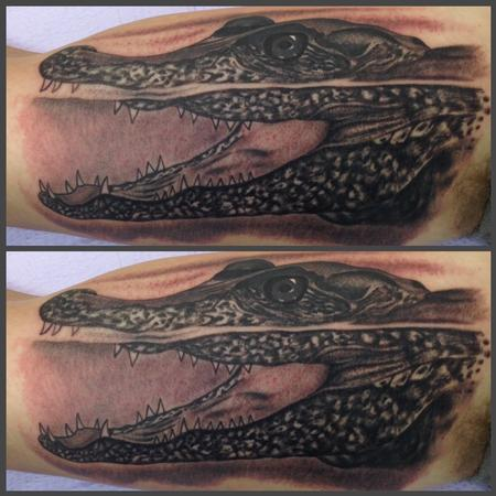 Realistic black and gray alligator tattoo, Scott Grosjean Art Junkies Tattoo Tattoo Design
