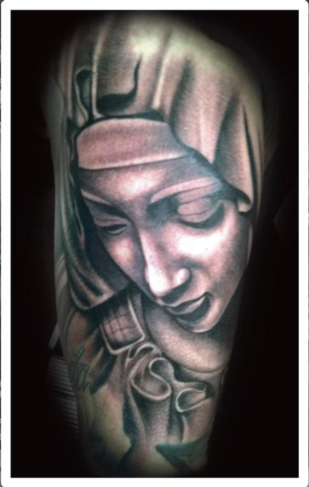 Tattoos - Realistic black and gray Virgin Mary tattoo, Scott Grosjean Art Junkies Tattoo  - 94001