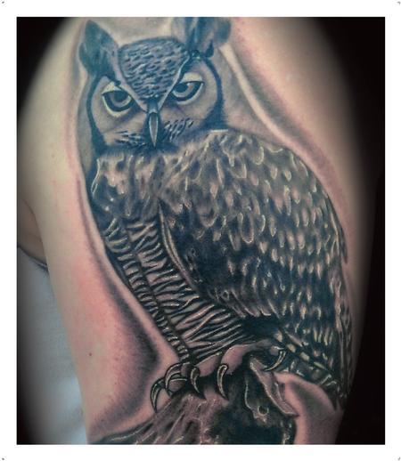Tattoos - Realistic black and gray owl tattoo. Scott Gorsjean Art Junkies Tattoo - 93692