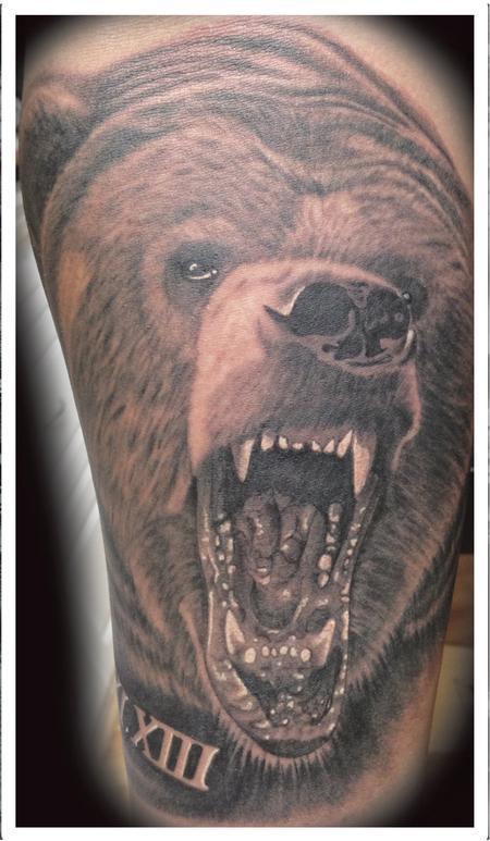 Tattoos - realistic black and gray bear tattoo. Scott Grosjean Art Junkies Tattoo  - 94054