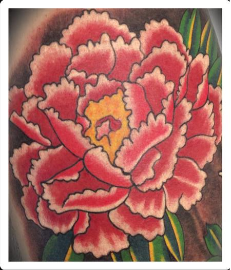 Scott Grosjean - traditional color peony flower tattoo, Scott Grosjean Art Junkies tattoo