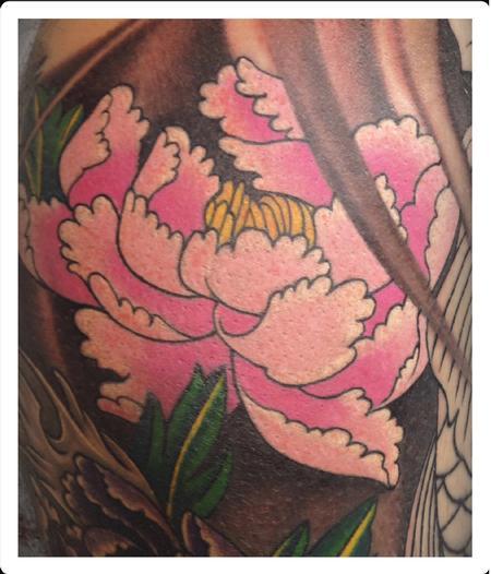 Tattoos - Traditional color Peony flower tattoo, Scott Grosjean Art Junkies tattoo - 94897