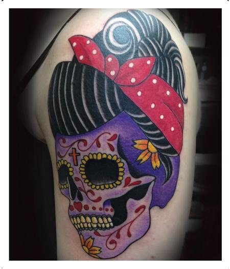 skull with bandana tattoo images galleries with a bite. Black Bedroom Furniture Sets. Home Design Ideas