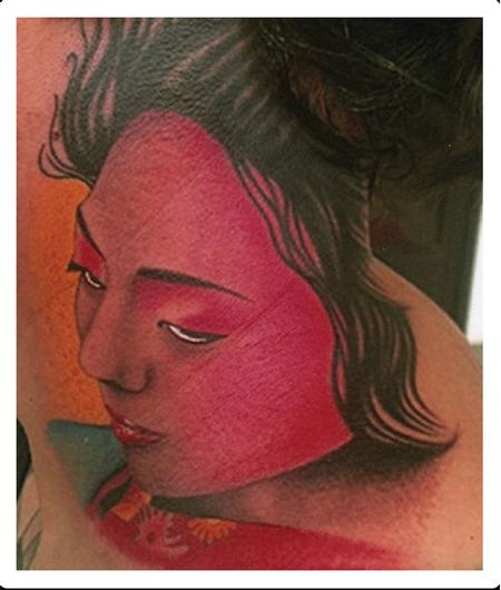 Scott Grosjean - Color Geisha face tattoo, Scott Grosjean Art Junkies Tattoo