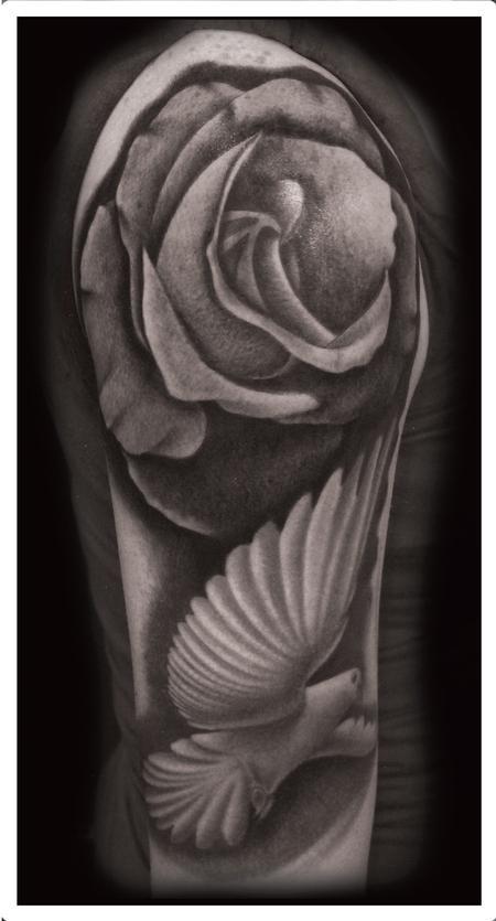 Tattoos - black and gray dove with roses tattoo. Scott Grosjean Art Junkies Tattoo  - 93564