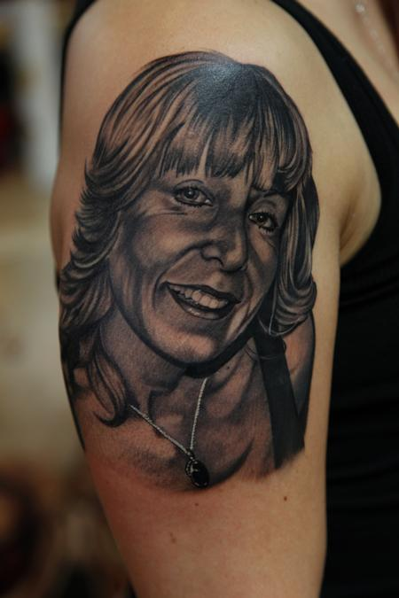 Mario Rosenau - Black and Grey realistic portrait tattoo