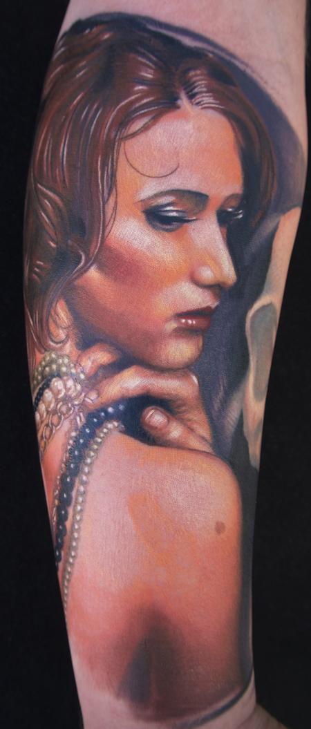 Brent Olson - realistic color portrait of a girl tattoo. Brent Olson Art Junkies Tattoos