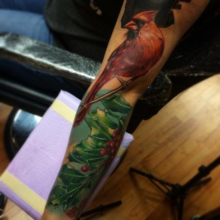 Brent Olson - realistic color cardinal with holly tattoo. Brent Olson Art Junkies Tattoo