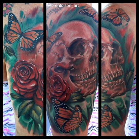 Brent Olson - realistic color skull with roses and butter fly tattoo. Brent Olson Art Junkies Tattoo