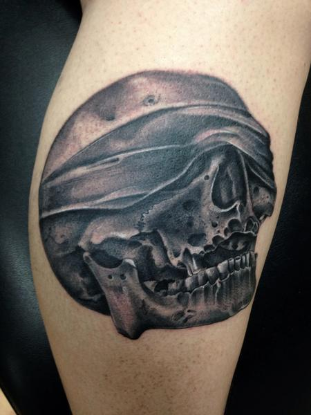 Tattoos - Black and gray skull with bandana covering eyes tattoo, Mike Riedl Art Junkies Tattoo  - 100030
