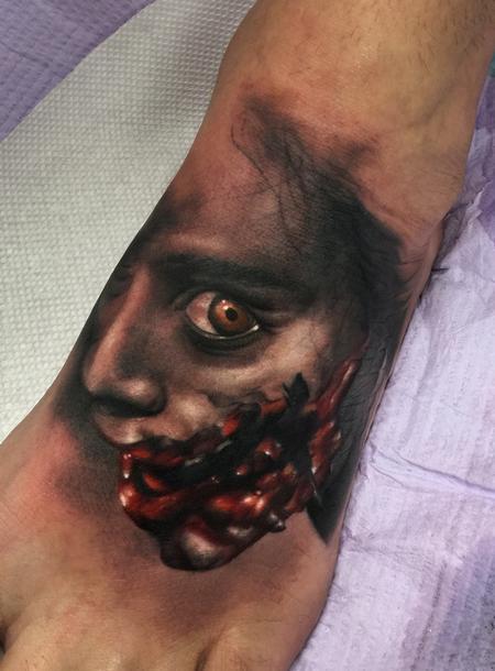 Black and gray evil dead portrait Tattoo Design