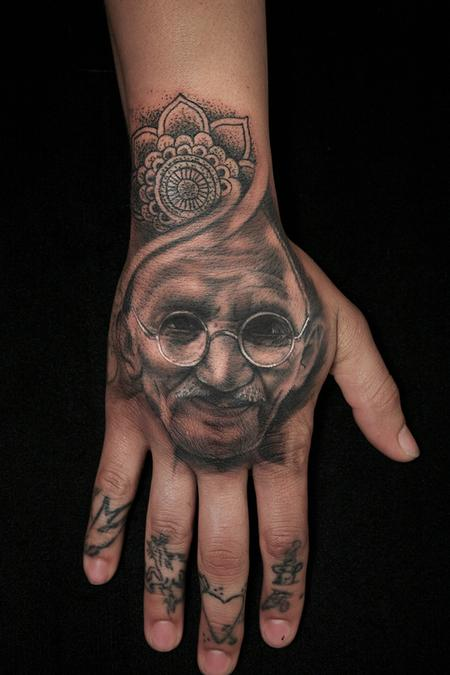 Black and Grey Portrait Tattoo of Gandhi Tattoo Design Thumbnail
