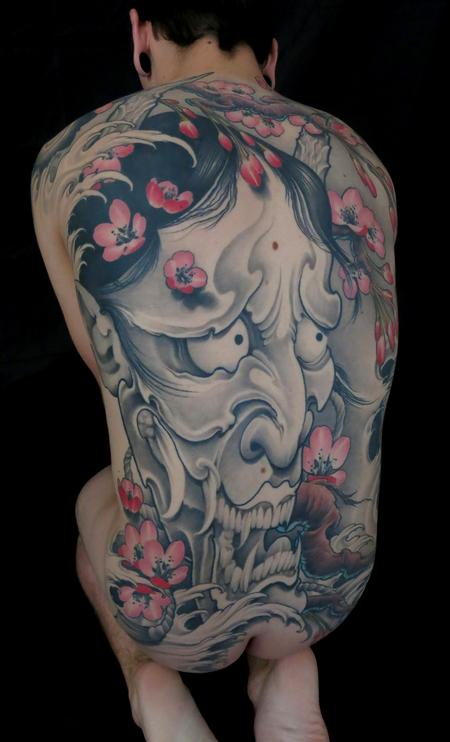 black and grey hannya mask with cherry blossoms tattoo, Tim McEvoy Art Junkies tattoo  Tattoo Design Thumbnail