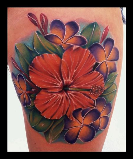 art junkies tattoo studio tattoos nature realistic hibiscus plumeria flower collage brent. Black Bedroom Furniture Sets. Home Design Ideas