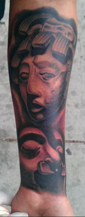 Scott Grosjean - realistic black and grey aztec tattoo, Scott Grosjean Art Junkies Tattoo