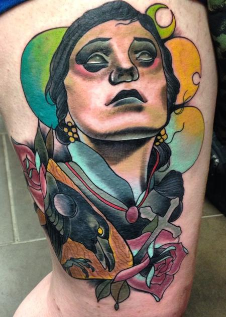 Gary Dunn - traditional evil girl with crow planchett and roses. Art Junkies Tattoo Gary Dunn
