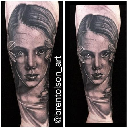 Black and Gray realistic portrait tattoo, Brent Olson Art Junkies tattoo Tattoo Design Thumbnail
