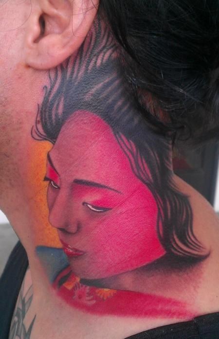 Scott Grosjean - colored Geisha girl tattoo, Scott Grosjean Art Junkies Tattoo