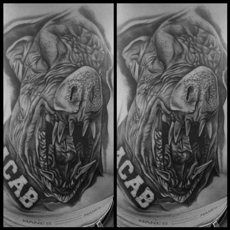 Realistic black and gray evil pig cover up tattoo, Scott Grosjean Art Junkies Tattoo  Design Thumbnail