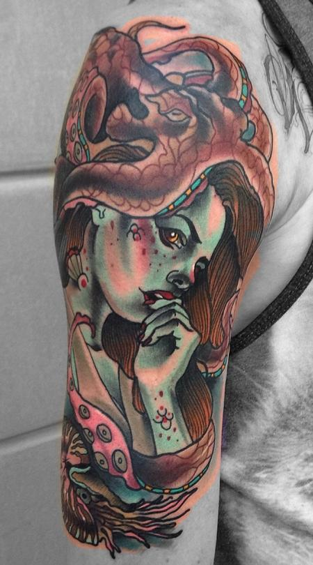 Traditional color mermaid with octopus tattoo, Gary Dunn Art Junkies Tattoo Tattoo Design Thumbnail