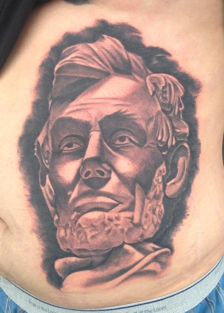 Tattoos - black and gray portrait of Abraham Lincoln tattoo - 99115