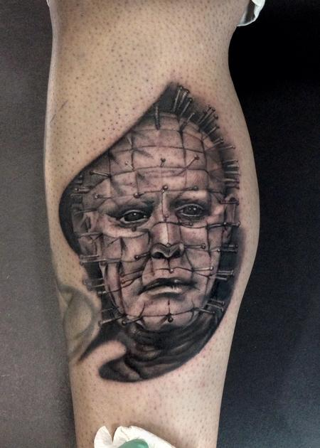 Ryan Mullins - Black and Grey Portrait of Pinhead