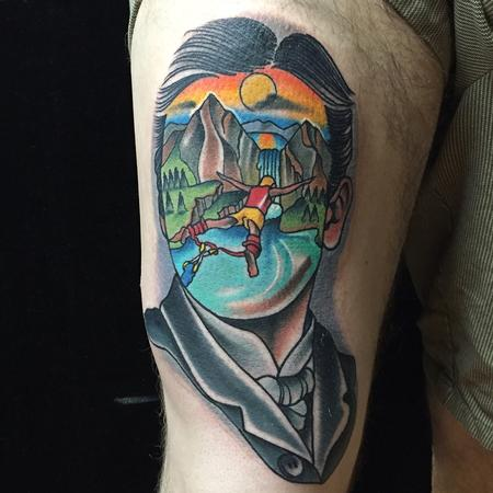 Traditional color bungee jumping scene in mans face tattoo, Gary Dunn Art Junkies Tattoo  Design Thumbnail