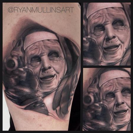 Black and grey portrait from the movie the town Tattoo Design Thumbnail