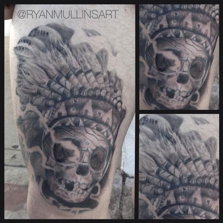 Tattoos - Black and Grey Indian chief skull - 84221