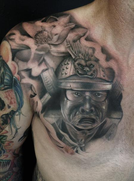 Black and Grey Samurai  Tattoo Design Thumbnail