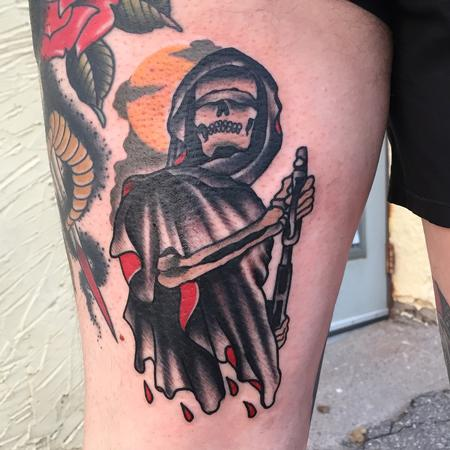 Tattoos - Traditional grim reaper with gun tattoo, Gary Dunn Art Junkies Tattoo  - 104402