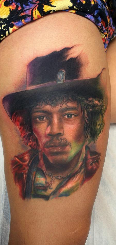 Color portrait if jimi hendrix  Tattoo Design Thumbnail