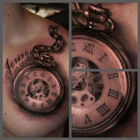 Tattoos - Black and grey pocket watch - 100203
