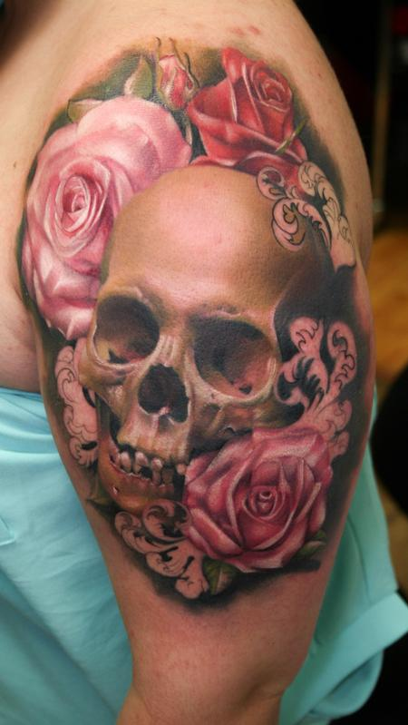 Realistic skull and flowers with filligree Tattoo Design Thumbnail