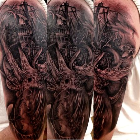 Big Gus - black and grey sea monster tattoo, Big Gus Art Junkies tattoo