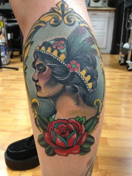 Gary Dunn - color traditional tattoo with girl and rose by Gary Dunn Art Junkies Tattoos
