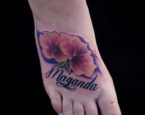 Ryan Mullins - realistic colorful hibiscus flower tattoo