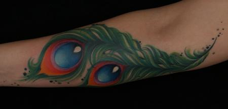 Tim Mcevoy - colorful realistic peacock feathers tattoo