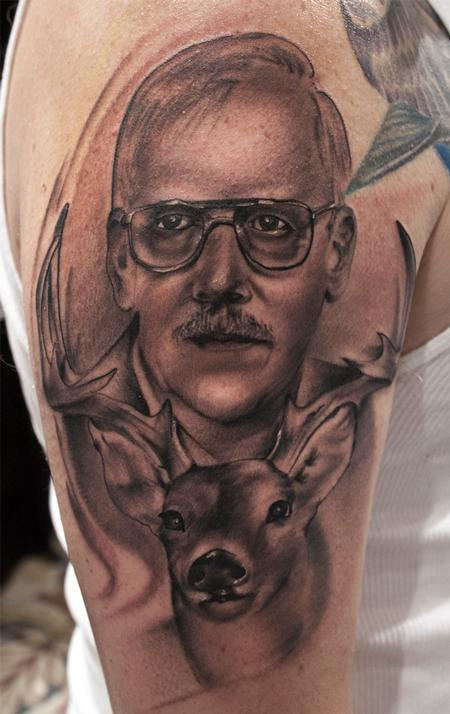 Ryan Mullins - black and gray realistic portrait with deer tattoo, Ryan Mullins Art Junkies Tattoo