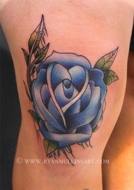 Ryan Mullins - traditional colored rose tattoo, Ryan Mullins Art Junkies Tattoo