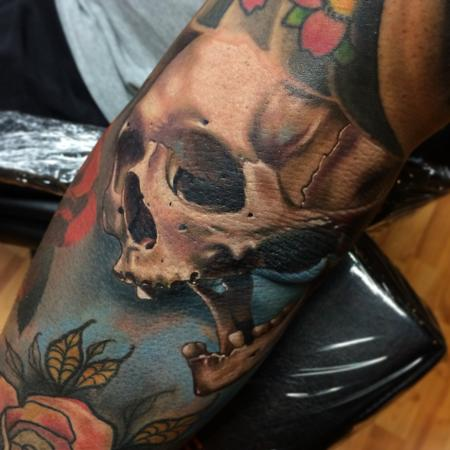 Realistic color skull tattoo, Brent Olson Art Junkies Tattoo Design Thumbnail