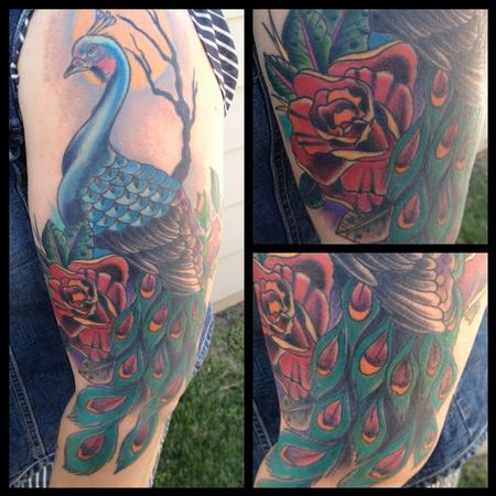 Colored traditional peacock tattoo gary dunn art junkies for Traditional peacock tattoo