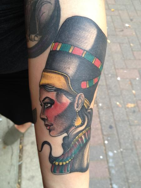 Gary Dunn - colored isis goddess statue tattoo, Gary Dunn Art Junkies tattoo