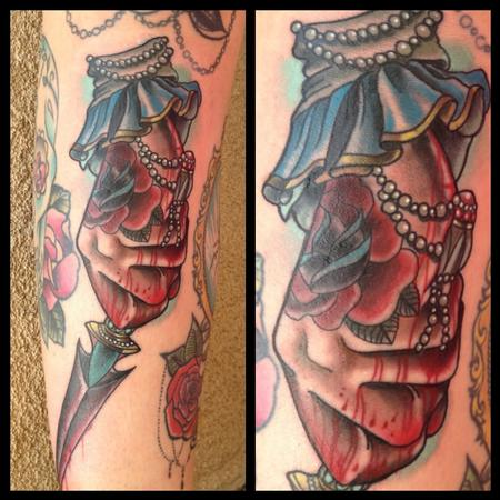 Gary Dunn - traditional style hand with dagger tattoo, Gary Dunn Art Junkies Tattoo
