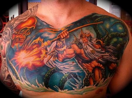 Tattoos > Chris Burnett > Page 1 > Neptune Squid Trident Ocean Custom ...