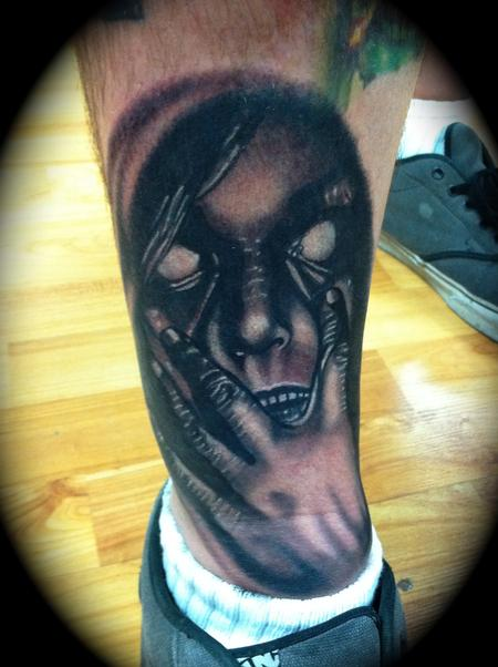 Scott Grosjean - Creepy black and grey face Scott Grosjean Art Junkies Tattoo