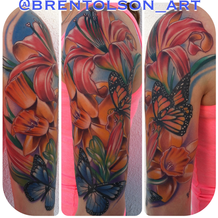 Brent Olson - realistic colored flowers with butterfly tattoo, Brent Olson Art Junkies Tattoo